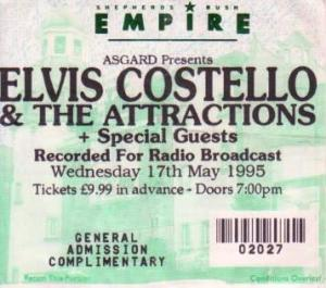 Elvis Costello Shepherds Bush Empire 17th May 1995 Kojak Variety
