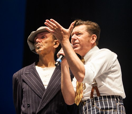 Kevin Rowland and Pete Williams onstage with Dexys in 2012