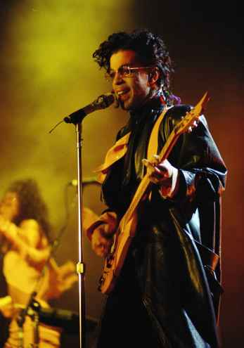 Prince at Paris Bercy Stadium, June 14, 1987. (AP Photo/Olivier Boitet)